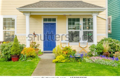 Stock Photo A Nice Entrance Of A Luxury House Over Outdoor Landscape 158797736