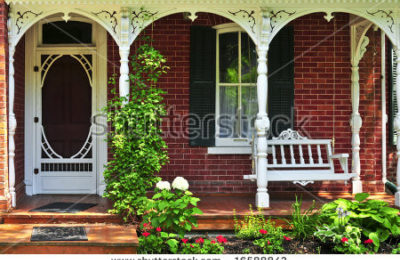 Stock Photo Beautiful Porch Of Victorian House Decorated With Flowers 16588843