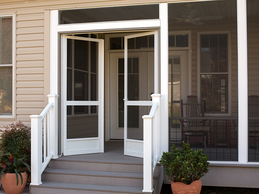 Pca custom french double screen doors for entrances for Double door screen door
