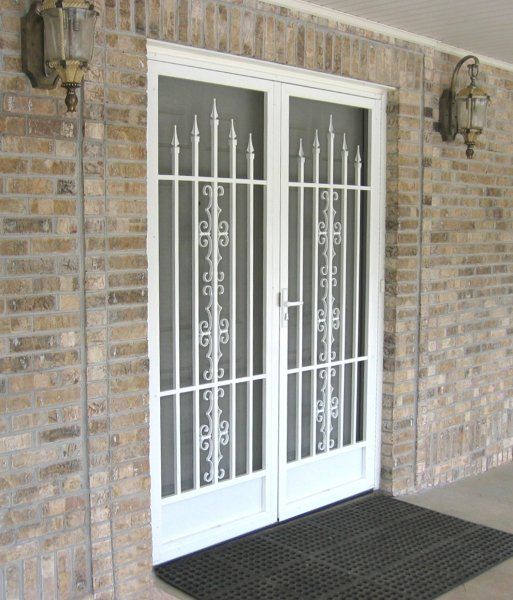 Pca custom french double screen doors for entrances for Screen door ideas for french doors